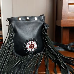 VTG western fringe leather bag